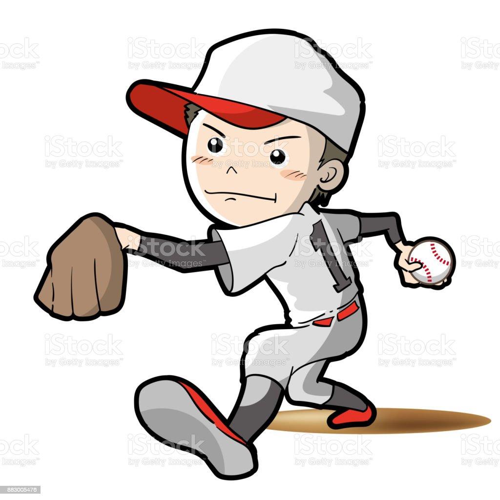 Baseball - Pitcher pose vector art illustration