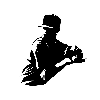 Baseball pitcher throwing logo. Isolated vector silhouette