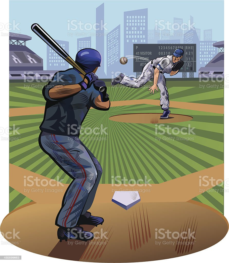 Baseball pitcher throwing the ball vector art illustration