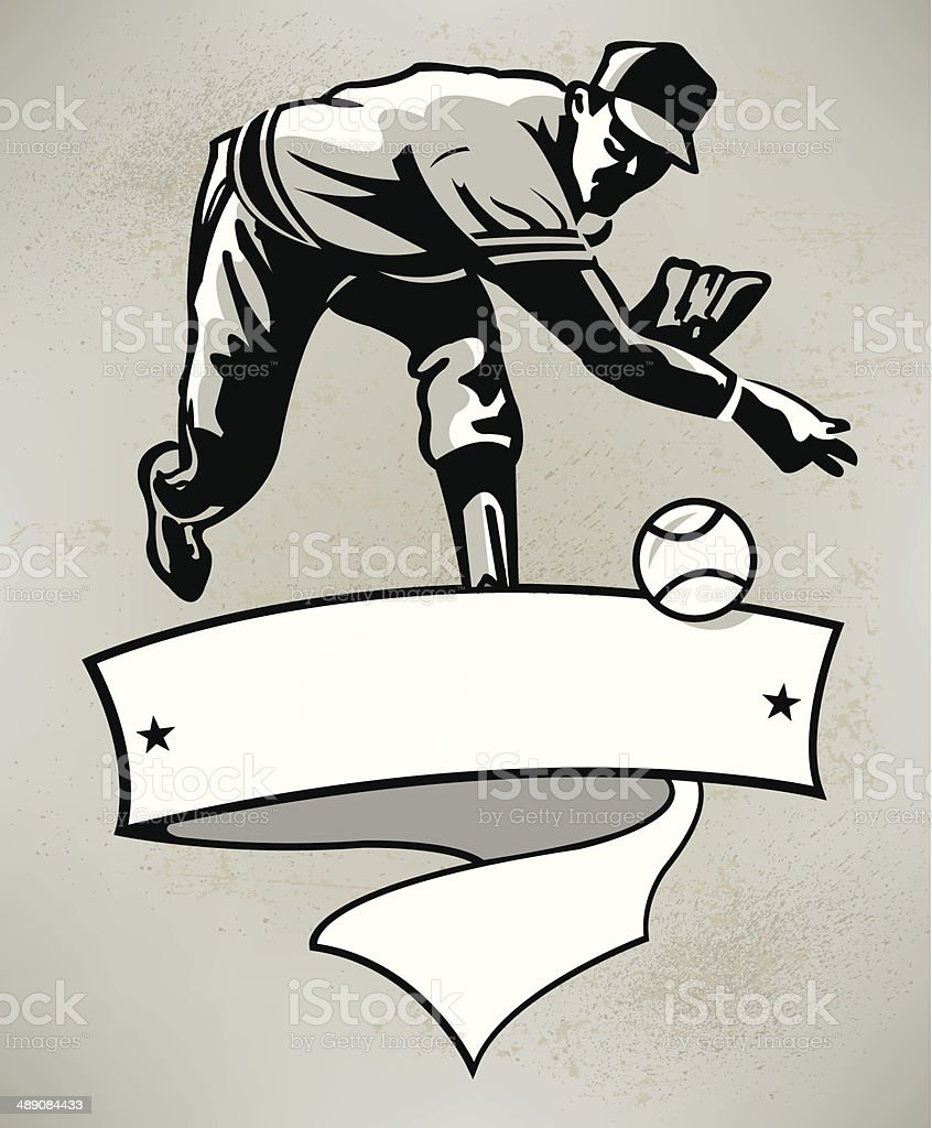 Baseball Pitcher with Banner - Retro Style vector art illustration