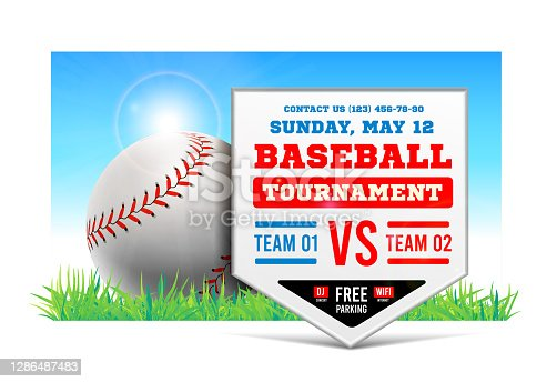 istock Baseball plate on the background of the grass field. Vector. Baseball game announcement. 1286487483
