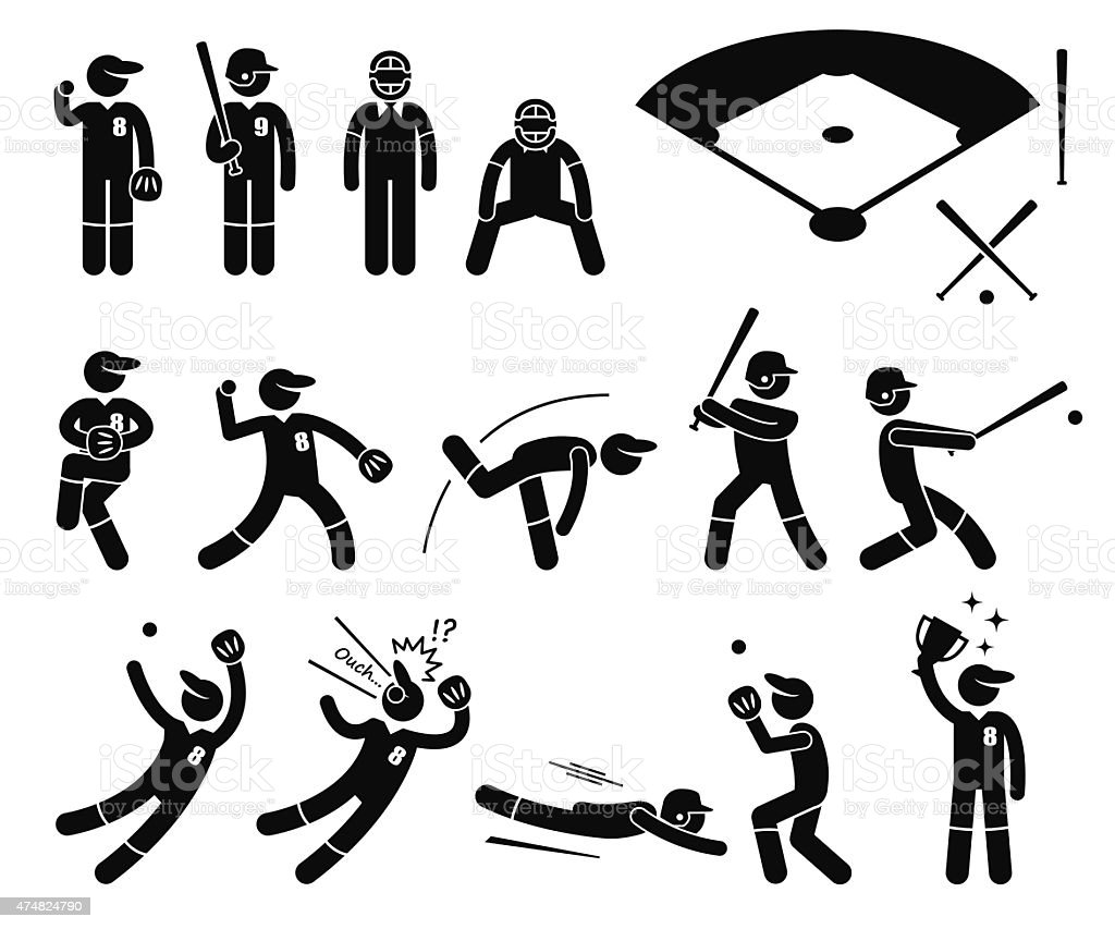 Baseball Player Actions Poses Stick Figure Pictogram Icons vector art illustration