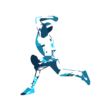 Baseball player, blue pitcher, isolated vector illustration