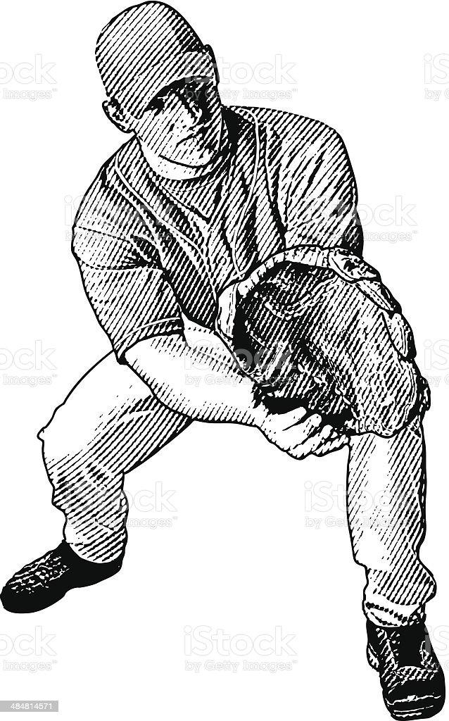 Baseball Player Catch royalty-free stock vector art