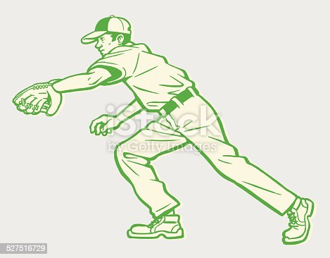 Baseball Player Going After Ball