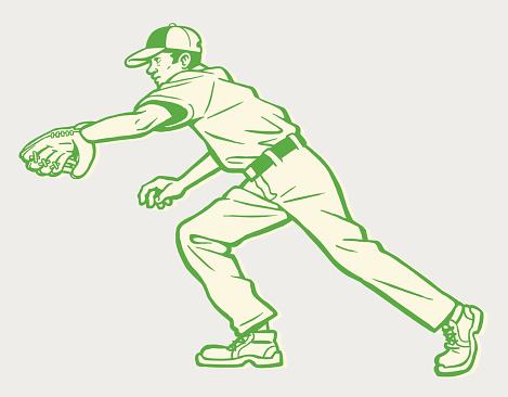 Baseball Player Going After Ball