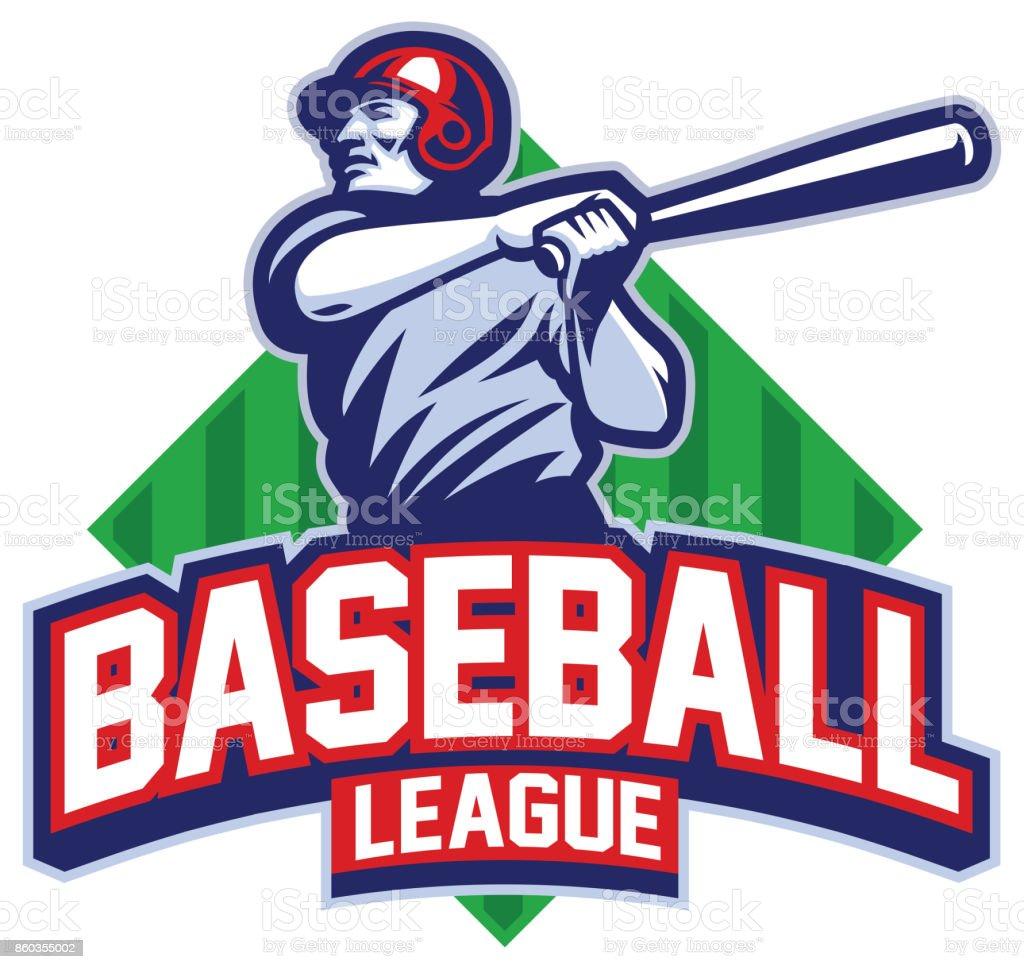 Baseball player hit the ball vector art illustration