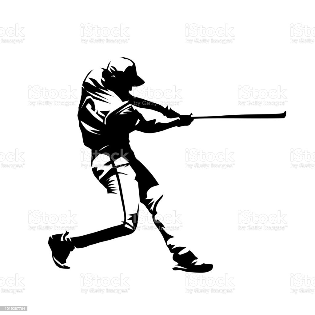 Baseball player, hitter swinging with bat, abstract isolated vector silhouette, ink drawing vector art illustration