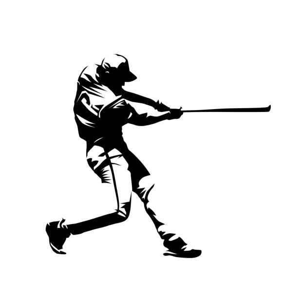 ilustraciones, imágenes clip art, dibujos animados e iconos de stock de beisbolista, bateador que hace pivotar con palo, silueta vector aislado abstracto, dibujo a tinta - béisbol
