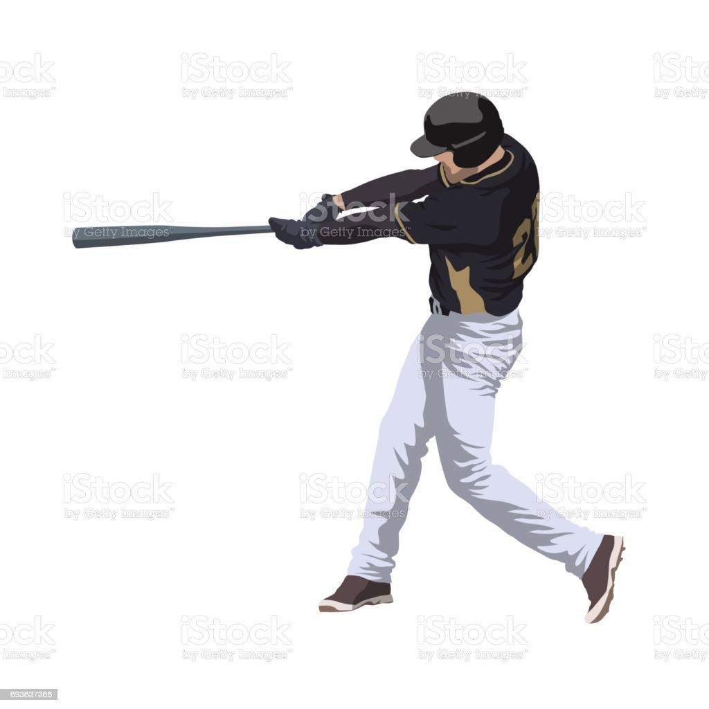 Baseball player hitting ball, isolated vector illustration vector art illustration