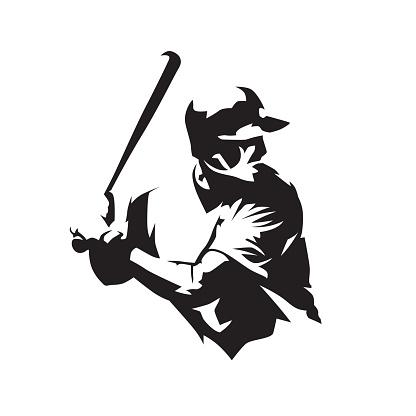 Baseball player holding bat, isolated vector silhouette. Baseball batter logo, team sport athlete