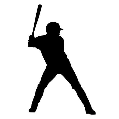 Baseball player holding bat, vector silhouette