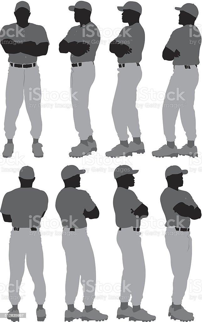 Baseball player in 360 degree pose vector art illustration