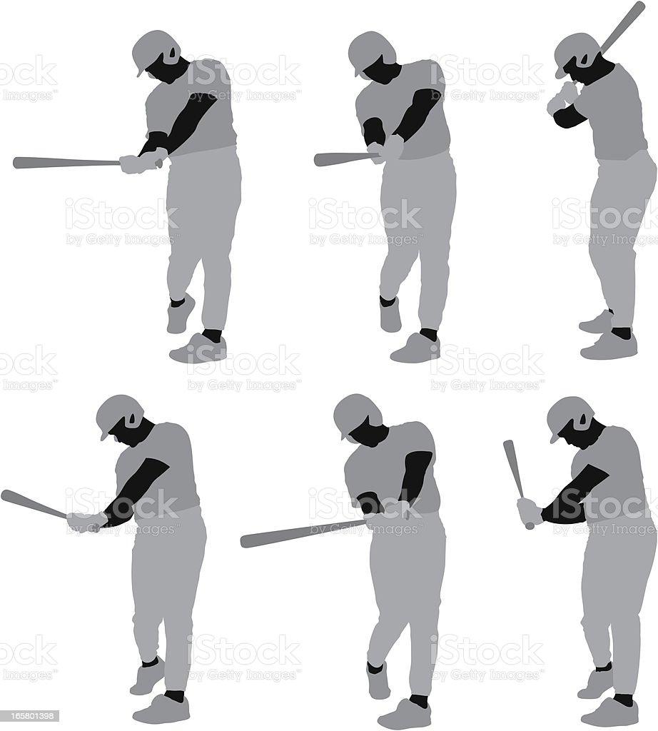Baseball player in action vector art illustration