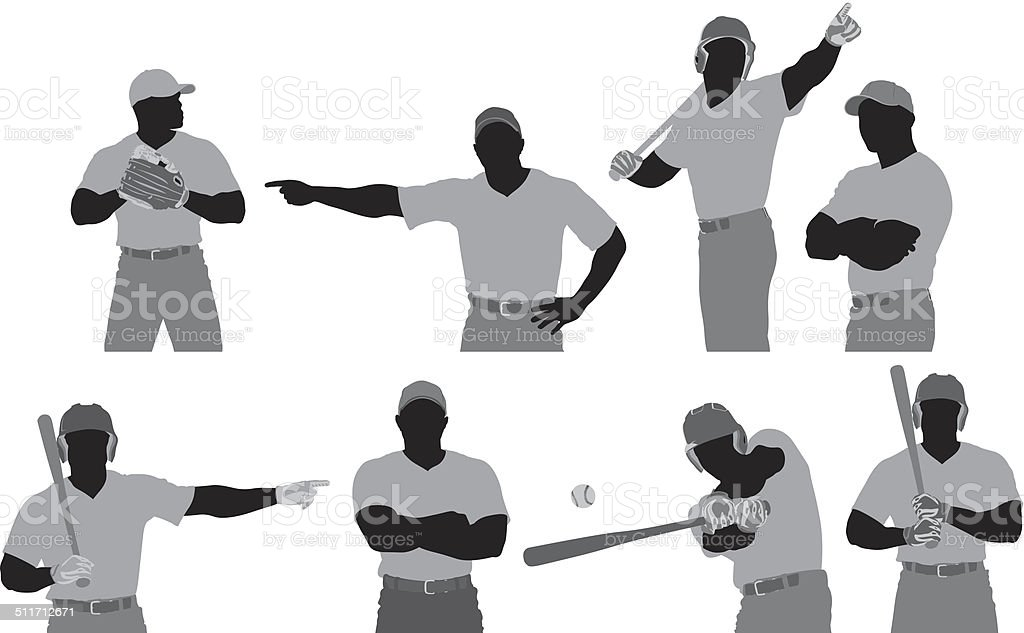 Baseball player in different poses vector art illustration