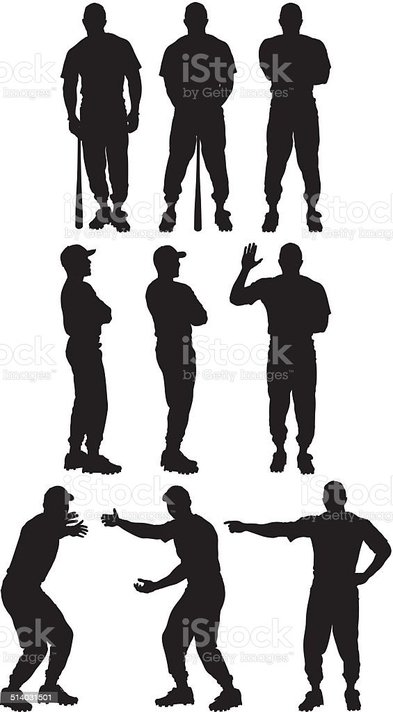 Baseball player in various poses vector art illustration