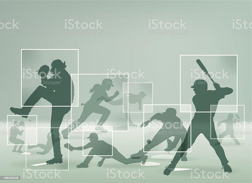 Baseball Player Montage Background vector art illustration