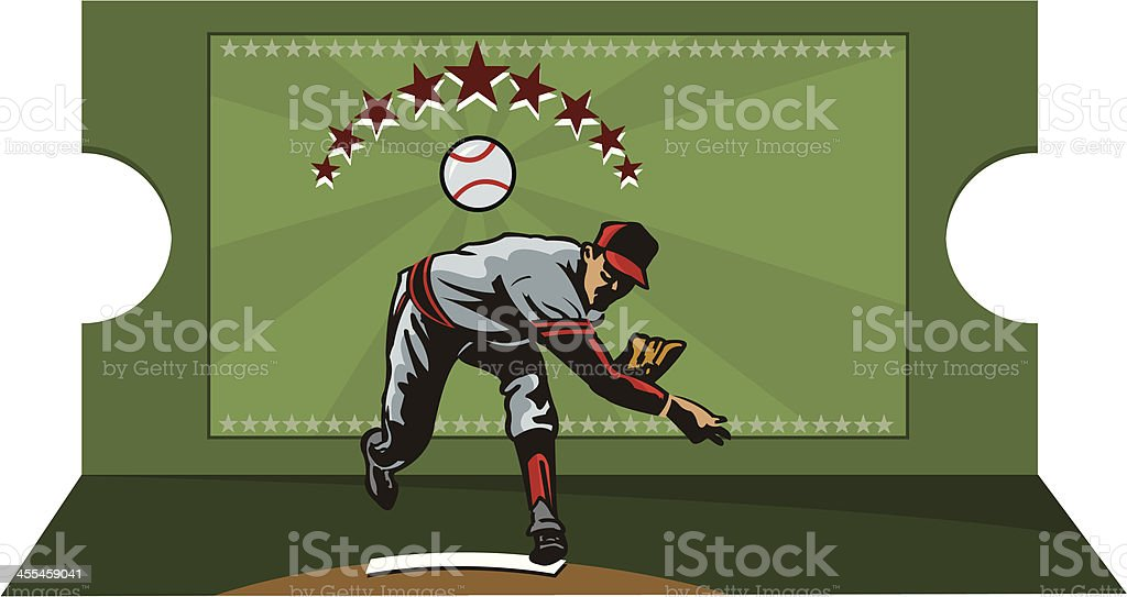 Baseball Player Pitching and Ticket Graphic vector art illustration