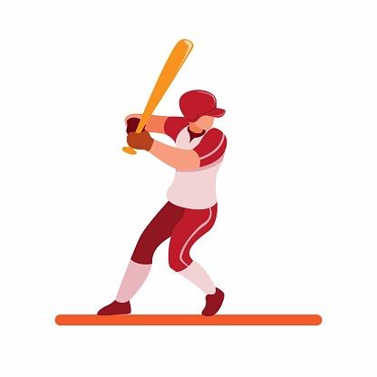 baseball player ready for strike, baseball batter pose to hit ball cartoon flat illustration vector isolated in white background