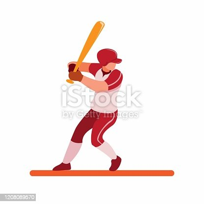 istock baseball player ready for strike, baseball batter pose to hit ball cartoon flat illustration vector isolated in white background 1208089570
