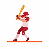 istock baseball player ready for strike, baseball batter pose to hit ball cartoon flat illustration vector isolated in white background 1208089570