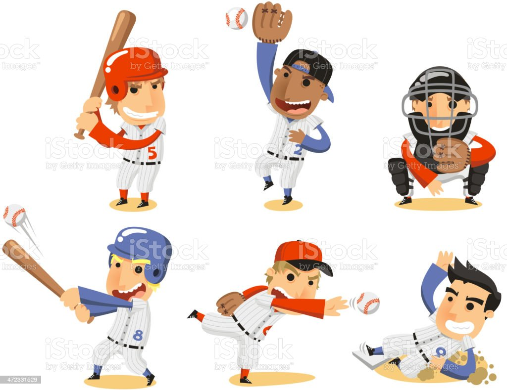 Baseball Player Set vector art illustration