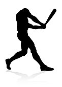 Baseball player in sports pose detailed silhouette
