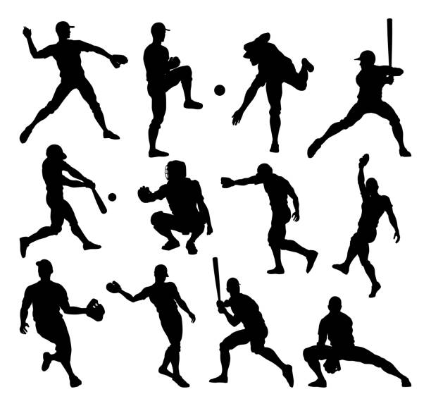 ilustraciones, imágenes clip art, dibujos animados e iconos de stock de béisbol player siluetas - béisbol