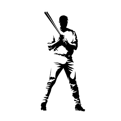 Baseball player standing with bat. Batter, isolated vector silhouette