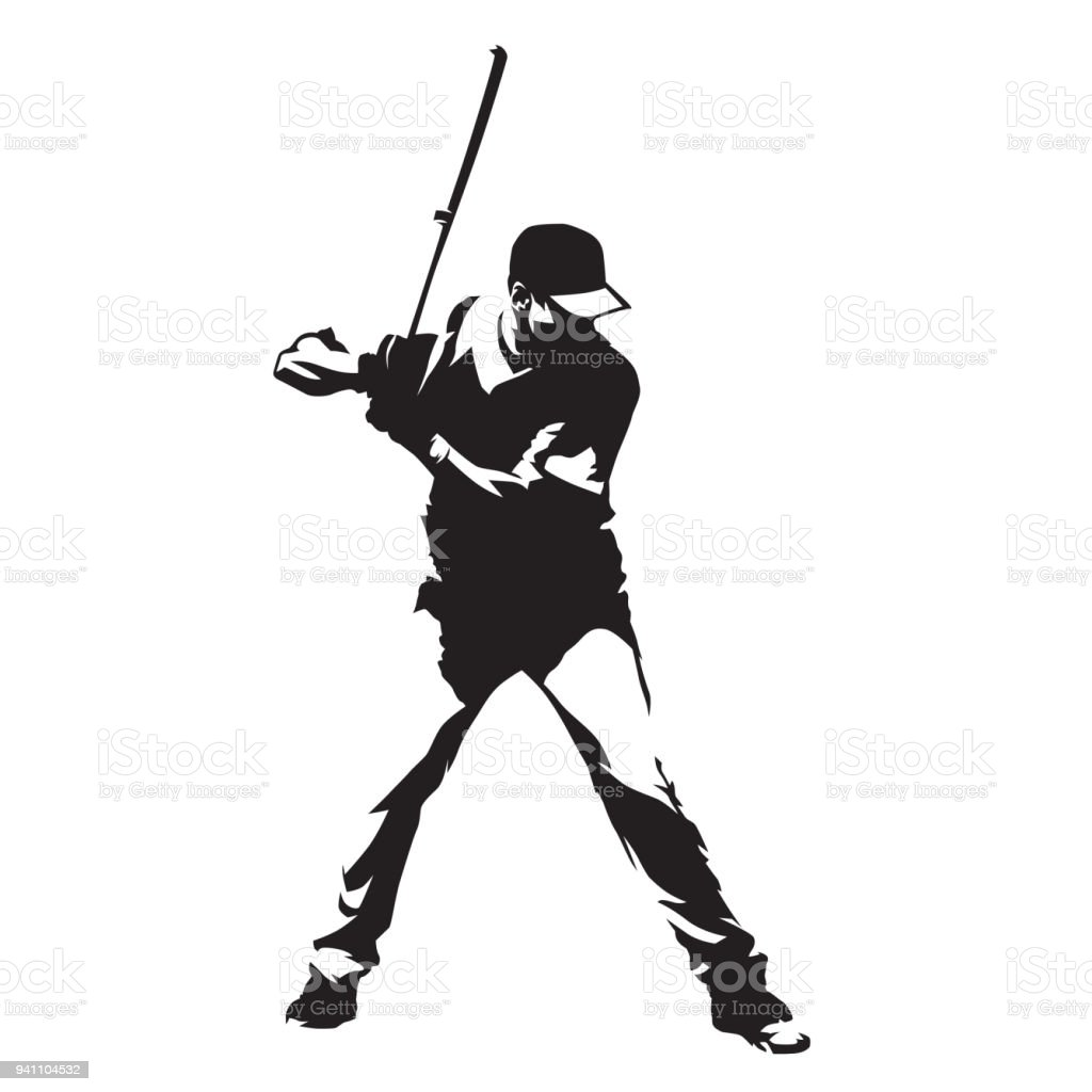 Baseball player standing with bat in his hands, abstract vector silhouette vector art illustration