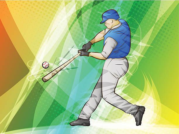 Baseball Player Swinging a Bat vector art illustration