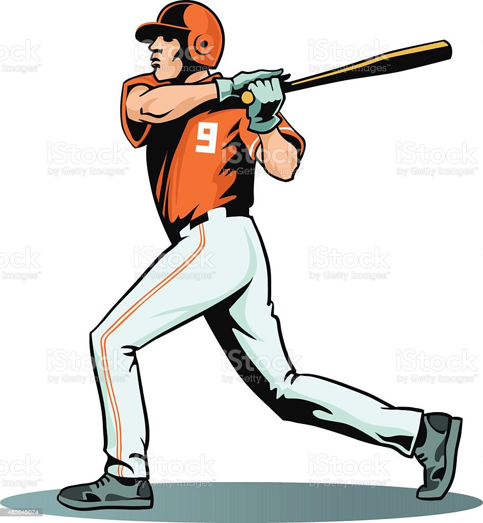 Baseball Player Swinging Bat - Isolated vector art illustration
