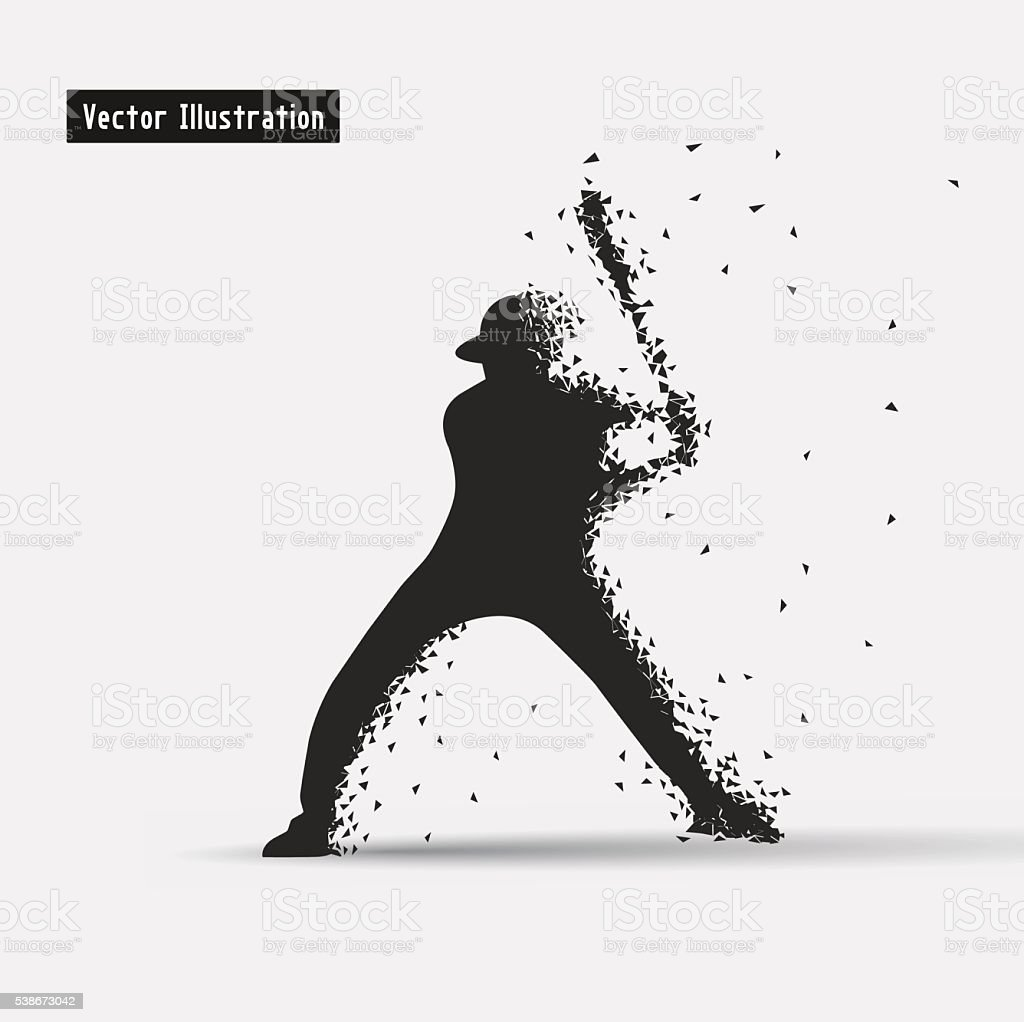 Baseball player vector art illustration