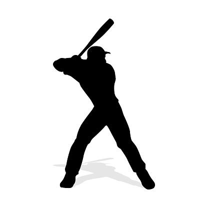 Baseball player vector silhouete. Baseball batter