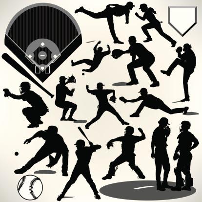 Baseball Players, Bat, Ball, Pitcher, Catcher, Batter