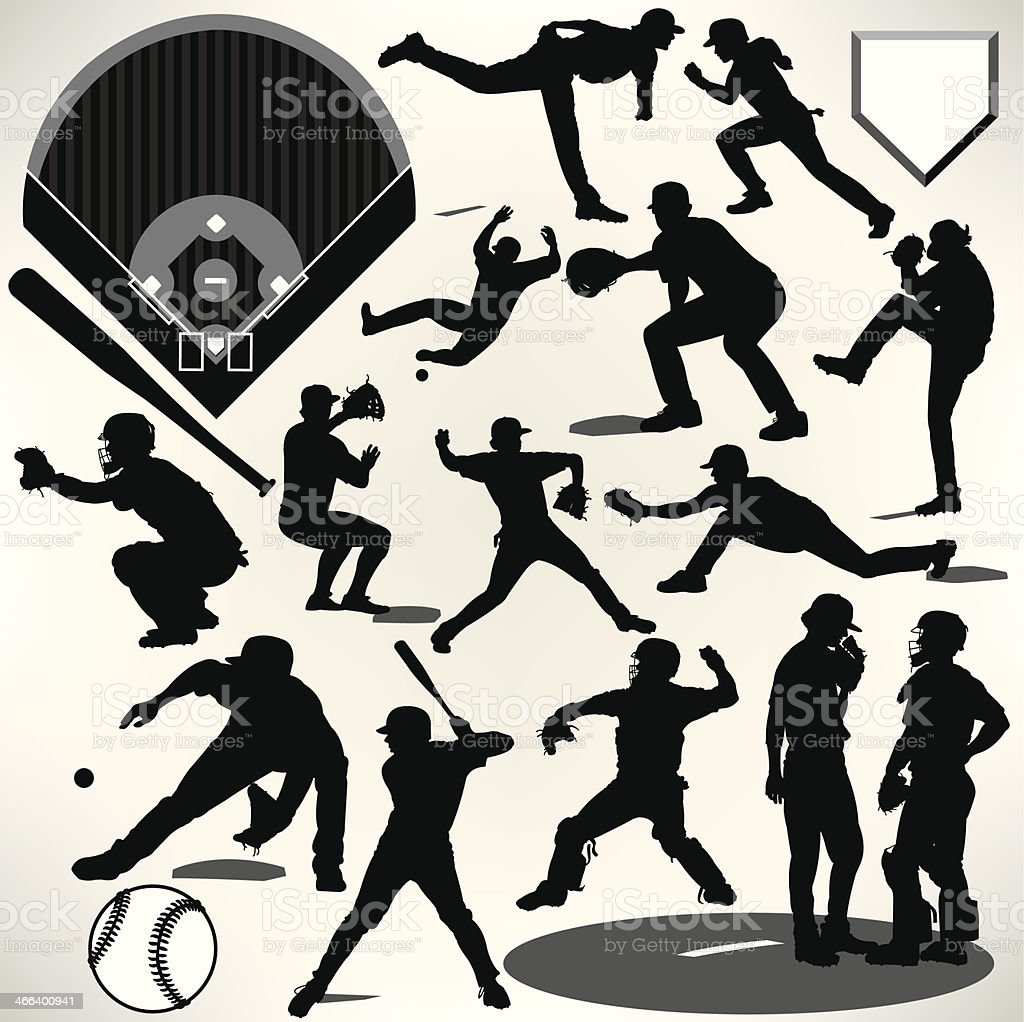 Baseball Players, Bat, Ball, Pitcher, Catcher, Batter vector art illustration