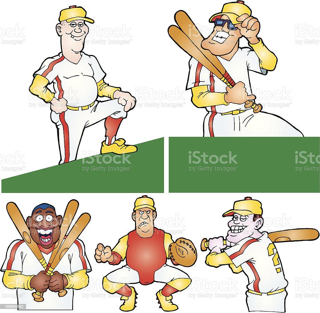 Baseball Players - Cartoon vector art illustration