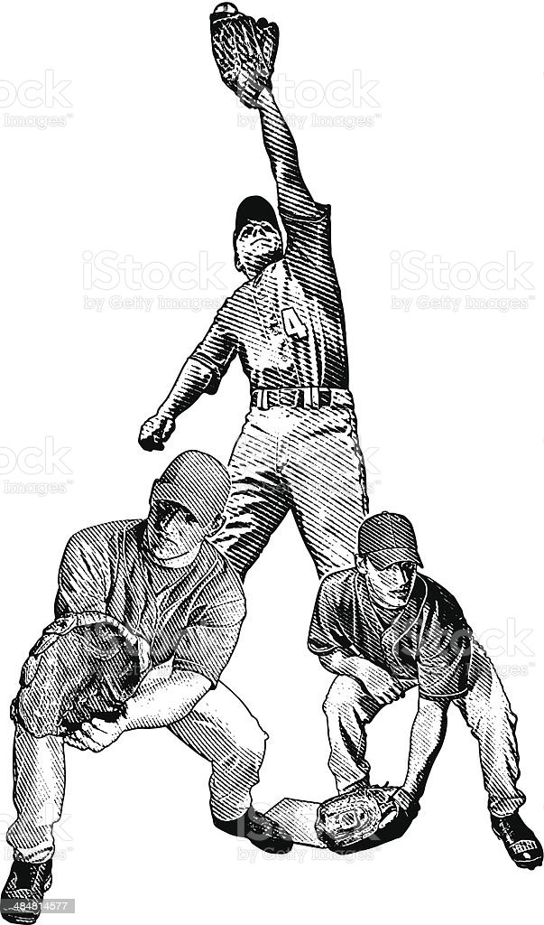 Baseball Players Catching vector art illustration