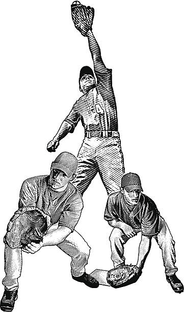 Baseball Players Catching vector art illustration