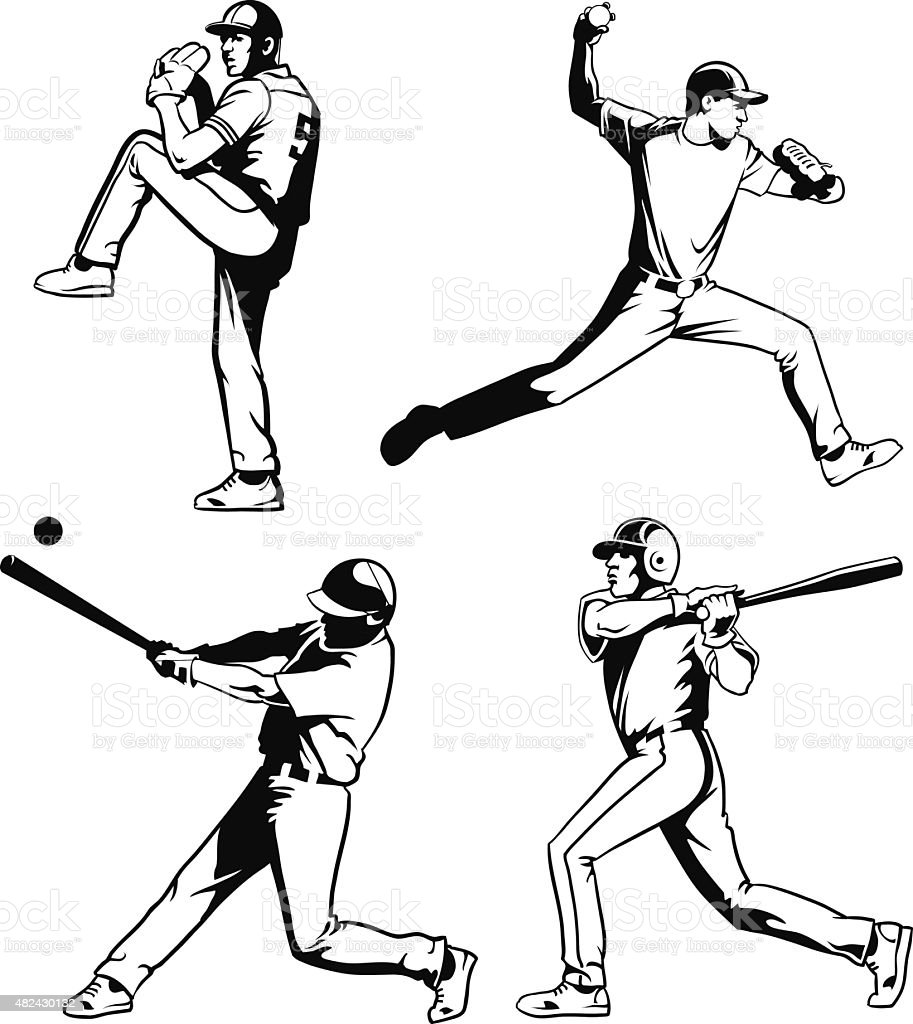 Baseball Players Set in Black and White vector art illustration