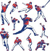 Illustration set of baseball players. All colors are separated in layers. Easy to edit. Black and white version (EPS10,JPEG) included.