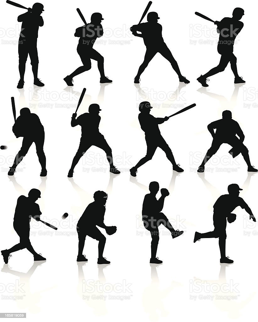 Baseball Players vector art illustration