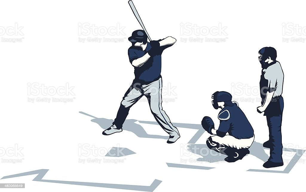 Baseball players vector art illustration