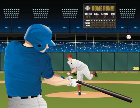 Baseball players with scoreboard