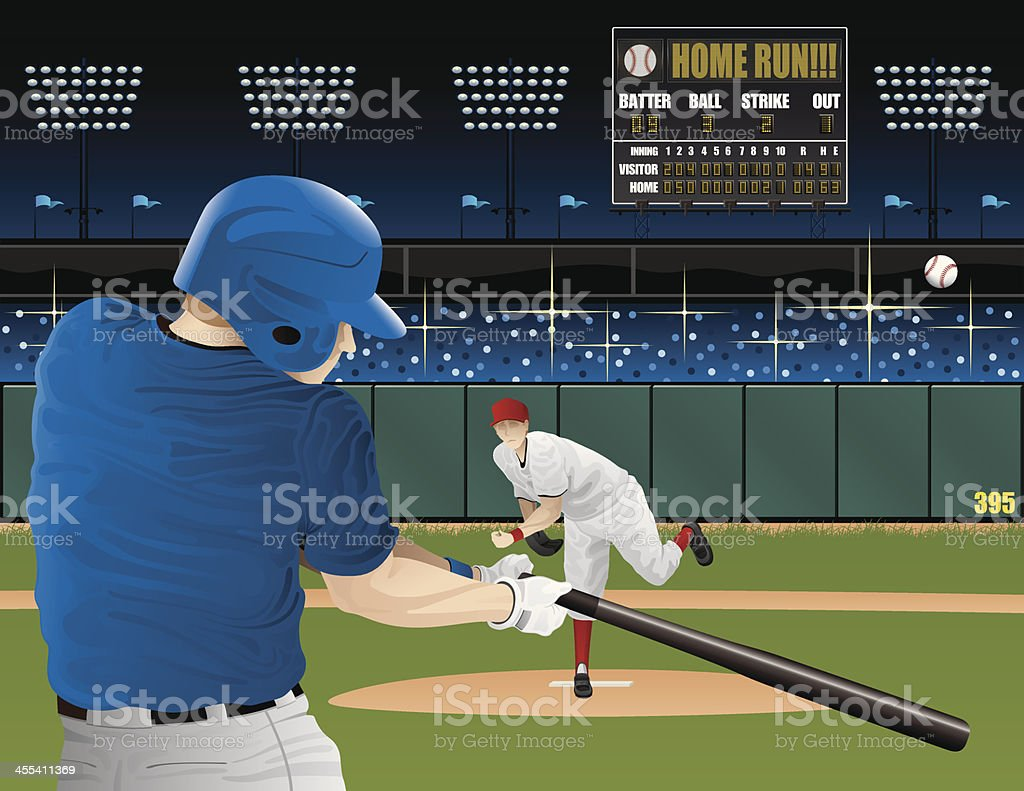 Baseball players with scoreboard vector art illustration