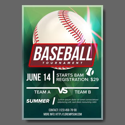 Baseball Poster Vector. Banner Advertising. Base, Ball. Sport Event Tournament Announcement. Announcement, Game, League Design. Championship Blank Layout Illustration