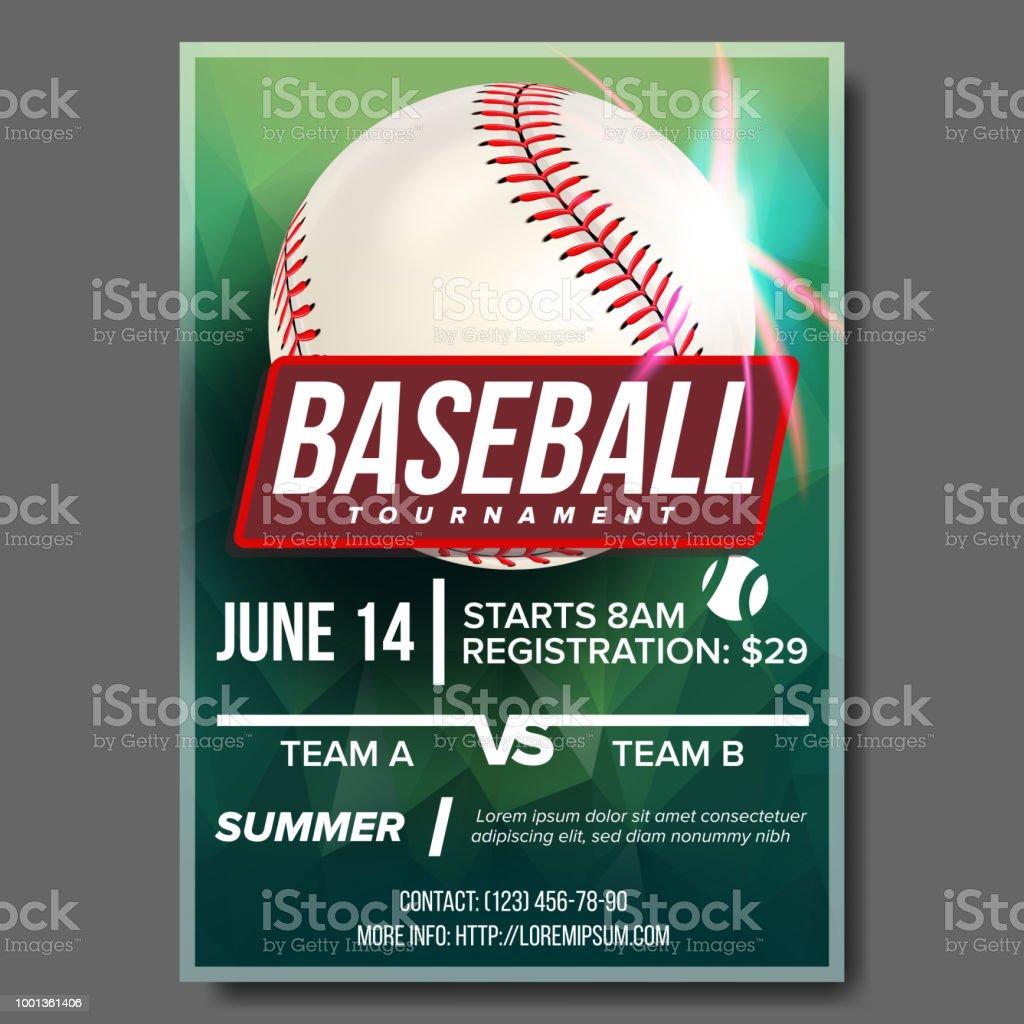 Baseball Poster Vector. Banner Advertising. Base, Ball. Sport Event Tournament Announcement. Announcement, Game, League Design. Championship Blank Layout Illustration vector art illustration