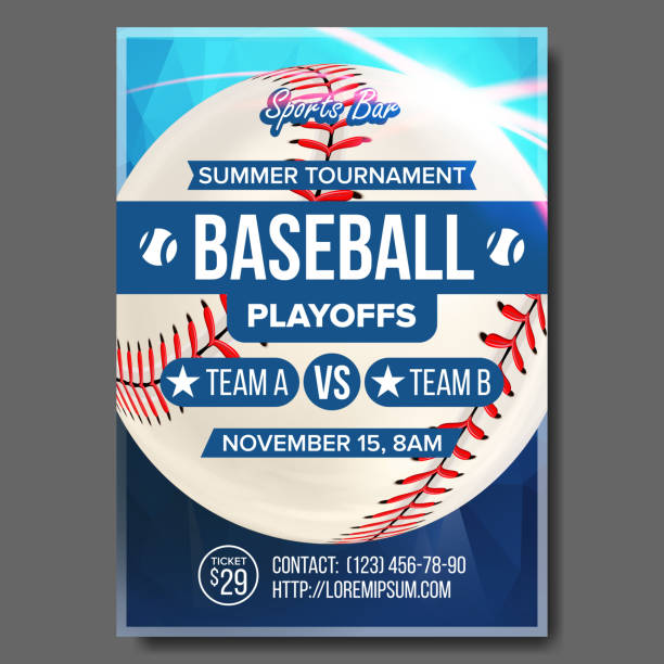 ilustraciones, imágenes clip art, dibujos animados e iconos de stock de vector de cartel de béisbol. diseño para la promoción de barra deportiva. bola de béisbol. torneo moderno. base, bateador, bateador. juego flyer ilustración en blanco - béisbol