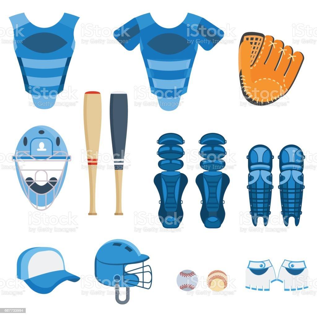 baseball protect equipment vector art illustration