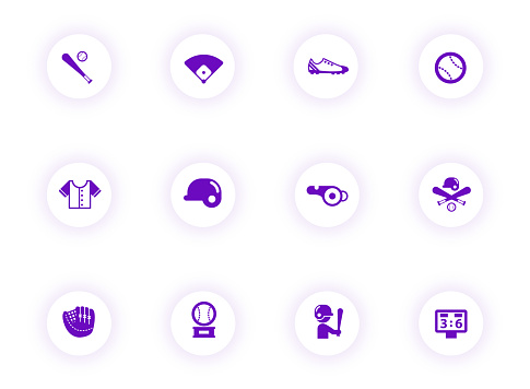 baseball purple color vector icons on light round buttons with purple shadow. baseball icon set for web, mobile apps, ui design and print